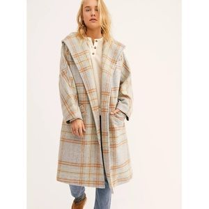 Free People Far From Home Grey plaid coat
